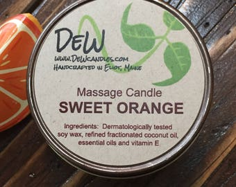 Massage Candle. SWEET ORANGE. Favor gift. Body Candle. All Natural.