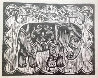 Elephant Art - Circus Elephant - Woodcut Print - Circus Art Print - Home Decor - Living Room Decor - Prints - Art - Art Gift - Retro Art