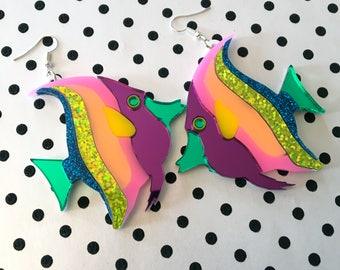 Rainbow Tropical Fish Laser Cut Earrings, Laser Cut Acrylic, Plastic Jewelry