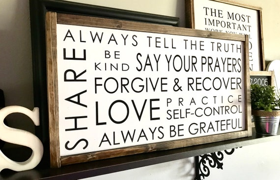 Farmhouse Sign | Family Rules Sign | Family Sign | Rules Of The Family | Rules Of The House | Fixer Upper | Modern Farmhouse | Family Rules