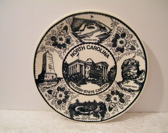 North Carolina Souvenir Plate Raleigh State Capital Center, Vintage travel memento 10 inch dinner plate wall decor, Black and White tourist