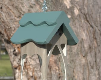 Outdoor hanging PVC bird feeder - unique modern  tray feeder- fully functional - handmade -  USA made - ez clean - ez fill - open viewing