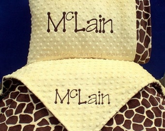 Personalized Crib Blanket and Toddler Pillow , Minky Blanket and Pillowcase Set - Baby Boy or Baby Girl - 36x52