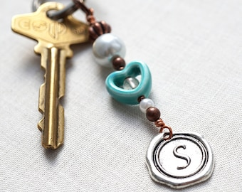 Mothers Day Gift Turquoise Ceramic Heart boyfriend gift Personalized Keychain Initial Monogram Wax Seal White Pearl Quartz Boyfriend Gift