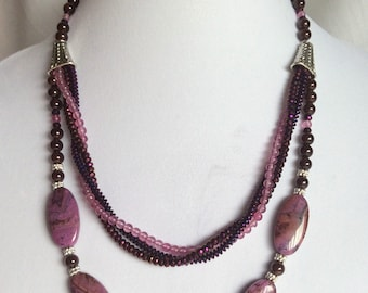 Necklace Purple Crazy Lace Agate with double strand