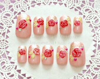 3D nails, rose nail, floral pattern, pink nail, deco nail, fake nails, decoden, 3D rose nail art, kawaii nail, bridal nail, glittery french