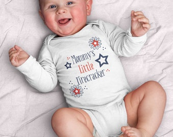 4th of July Firecracker Infant Bodysuit (mommy, firecracker, fourth of July, celebrate, fun, red and blue, baby bodysuit, stars)
