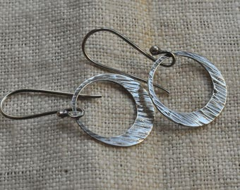 Sterling silver hammered hoop earrings, ready to ship