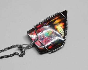 Ammolite Pendant in Silver, 35 x 21 mm