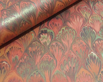 Marbled Print Italian Decorative Paper, Gift Wrap - Brick Red