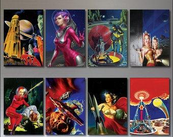 Vintage retro sci fi novels artwork set of 8 science fiction fridge magnets No.1