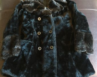 Vintage Black and Brown Faux Fur Coat Jacket Souble Botton Up Women's Size Small