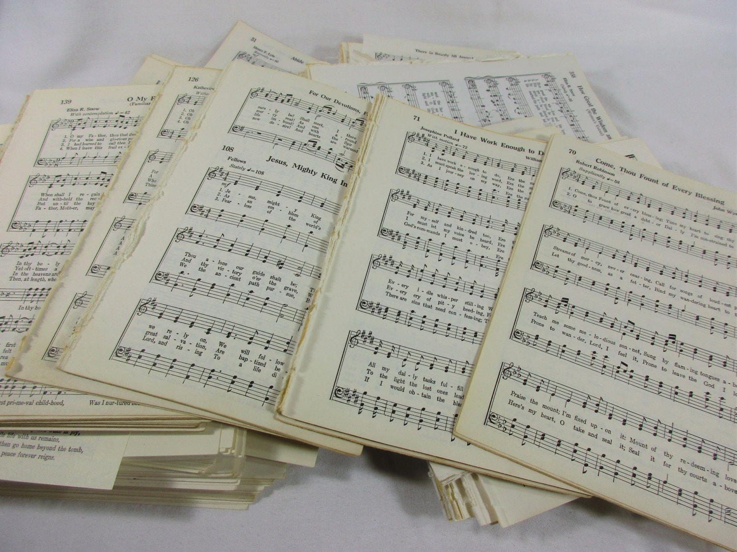 Old Sheet Music 50 Pages Vintage Hymn Piano Notes Book