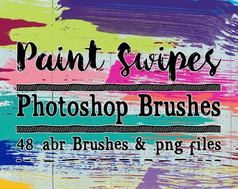 Paint Swipe Photoshop Brushes & Digital Stamps Clip art - 48 abr brushes and png files