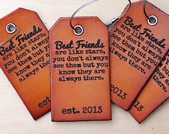 High School Graduation Gift  - Best Friend Luggage Tag, For BFF, High School Grad Gift, Long Distance Friendship Gift, Leather Travel Tag,