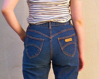 "80s mom jeans, high waisted dark denim jeans / GITANO tapered, stretch jeans, womens small medium 30"" waist, 30x28 short, LIKE NEW"