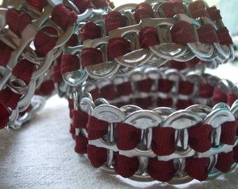 Men's Bracelet  Maroon FistiCuff Tab Top Cuff