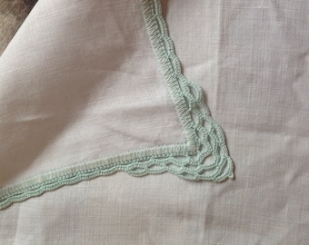 Hand crochet dressing table cloth. White and mint green.