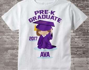 Pre-K Graduation, Pre-Kindergarten Graduate Shirt, Personalized for your little girl with year, name and purple cap and gown 04202015b