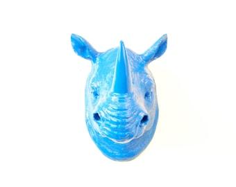 BACK ORDER - Blue Rhino Head Wall Mount -True Blue Rhinoceros Home Decor- Faux Taxidermy - African Safari Wall Decor - Kids Room Decor- RH60