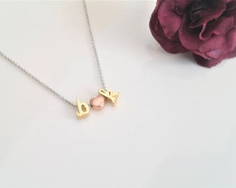 Dainty Initial Necklace, Delicate Initial Necklace, Rose Gold Initial Necklace, Personalized Letter Necklace, Gold Letter, Love Necklace