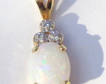 Australian Opal Pendent, 10K Yellow Gold, Diamond Accents, Multi Color Fire, Pink, Yellow, Green, Orange Flash