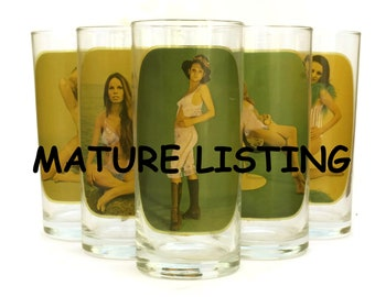 Vintage Pin Up Drinking Glasses Set of 6. 1970s Highball Barware. Sexy Gift for Him. French Retro Barware. Naked Woman Art Glass.