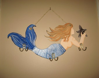 Wooden Mermaid Large Mermaid Hand Painted Mermaid Custom Mermaid