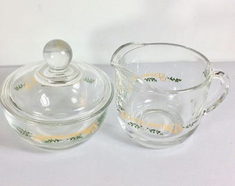 Vintage Home Trends glass Christmas sugar bowl and creamer set.