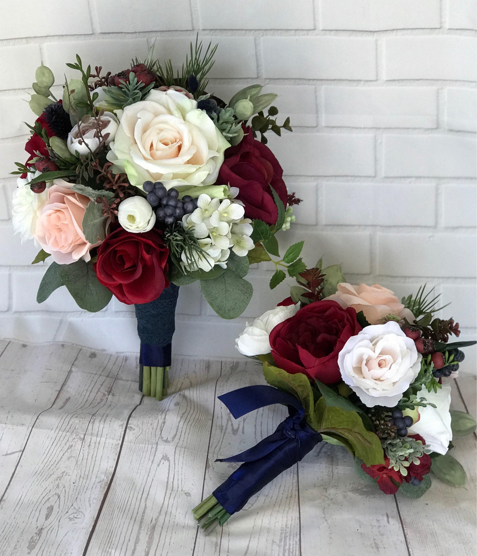 Wedding BouquetBridal BouquetBurgundy & Navy