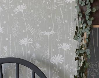 Sage Green Floral Daisy Meadow Botanical Tonal Wallpaper // Daisy Meadow in 'Sage' by Hannah Nunn
