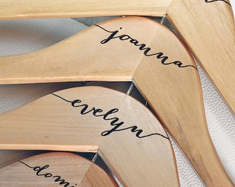 8 - Personalized Bridesmaid Hangers - Engraved Wood