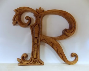 """Letter R Wood Wall Art Wood Carving Wall Hanging or Furniture Applique, 6 to 22"""" tall Ornate Letter R, Ash Wood, Walnut Stain, Satin Finish"""