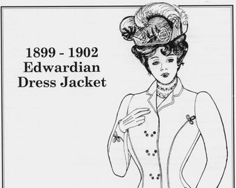 PP210 - Past Patterns #210, 1899-1902 Edwardian Ladies' Double Breasted Dress Jacket Sewing Pattern
