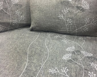 100% Linen bed set Flat sheet, duvet cover, 2 pillow cases Embroidery Stone Washed linen Natural Perfect gift