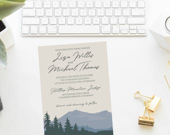 Mountain Wedding Invitation Suite Mountain Lined Envelope
