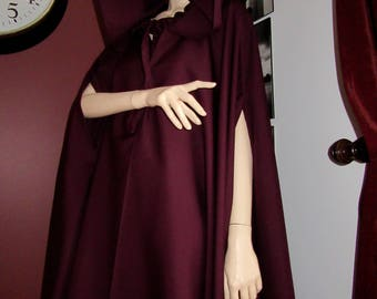 Burgundy wool blend Cloak Slit arm cloak with hood Cosplay,Costume Full Circle Medieval Renaissance Comic Cloak Costume plus size@sohoskirts
