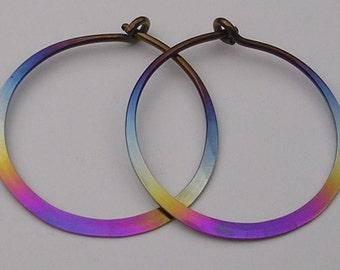 Hoop Earrings in Niobium. Rainbow Colored 1 Inch (24mm) Hoops