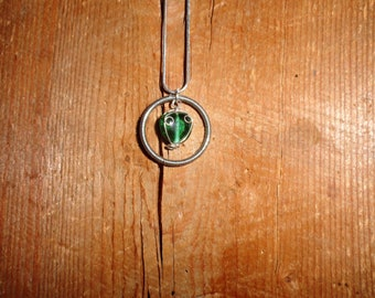 Wire Wrapped Green Beaded Necklace