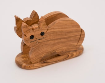 Wooden Napkin Holder, Handcrafted and Curved as  a Cat Shape