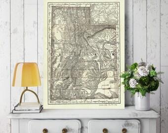 Utah State Map, Utah Map Canvas, Antiqued Utah Map, Canvas Wall Decor, Utah Wall Decor, Map of Utah Canvas