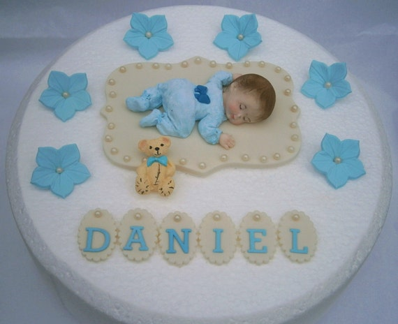 Birthday Cake Images Baby ~ Edible baby boys christening 1st birthday cake topper. boys