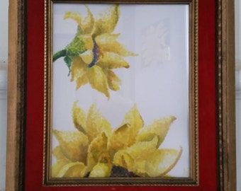 Sunflowers. Watercolor original; pointillism.