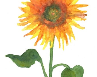 Sunflower/Greeting Card/Note Card/Blank/Watercolor/Local