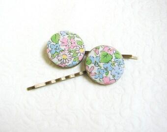 Floral hair pins Button hair grips Flower hair pins Teen girls hair pins  Pinup Girl hair accessories Floral barrettes Cottage hair pins