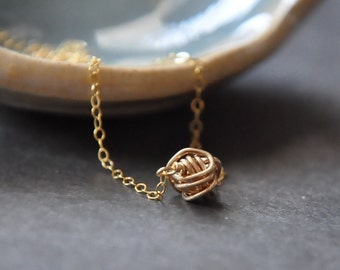 Tiny Teeny Tornado necklace ( 14K gold filled wire ball )