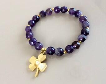 Amethyst Stretch Bracelet, Ultra Violet Bracelet, Clover Lucky Jewelry, Purple Gemstone Bracelet, Boho Chic Jewellery, Birthday Gift