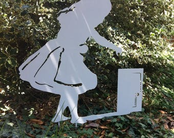Alice at Wonderland-Alice in Wonderland-metal silhouette-metal garden art-fairy tales-Gift for garden
