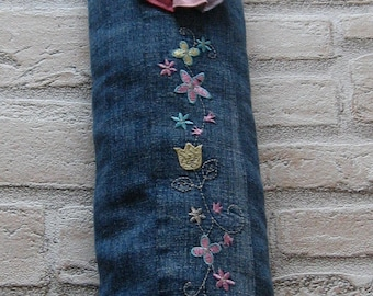 Worn in jeans with embroidery black