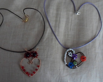 long put necklace heart and OWL